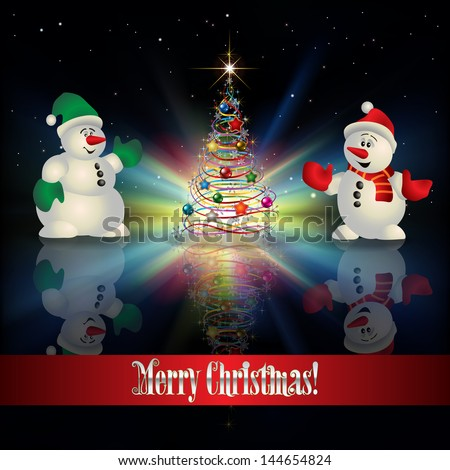 Abstract Christmas greeting with tree snowmen and stars - stock vector