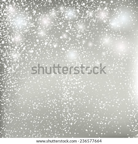 Abstract Christmas grey background. Vector pastel background with snowflakes. - stock vector