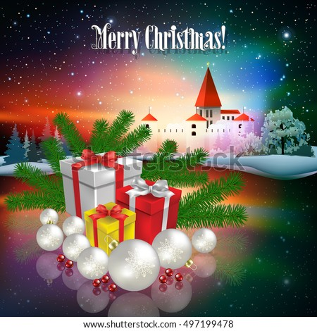 Abstract Christmas illustration with silhouette of castle and gifts