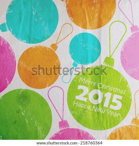 Abstract Christmas multicolored watercolor balls in flat style. holiday vector illustration with old paper wrinkled texture. Merry Christmas and Happy new 2015 year   - stock vector