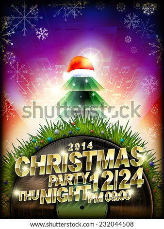 abstract Christmas music party poster template design - stock vector