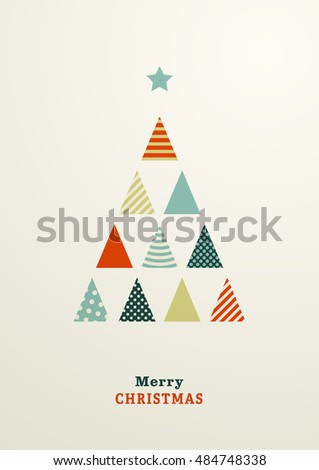 Abstract Christmas postcard with colored triangle minimalistic fir trees. Trees in different  patterns and colors. Merry Christmas text.