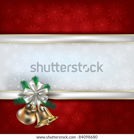 Abstract Christmas red background with handbells and white gift ribbons - stock vector