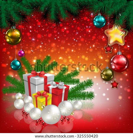 Abstract Christmas red greeting with gifts and decorations - stock vector