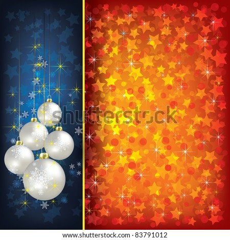 Abstract Christmas red greeting with pearl decorations on blue - stock vector