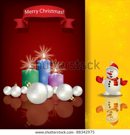Abstract Christmas red greeting with snowman and candles