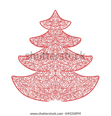 Abstract Christmas red spruce - stock vector