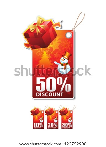 abstract christmas sale tag vector illustration