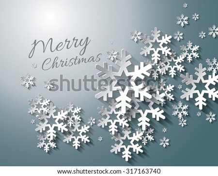 Abstract Christmas Snowflakes Vector Background - stock vector