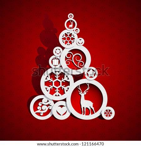 Abstract Christmas tree - stock vector