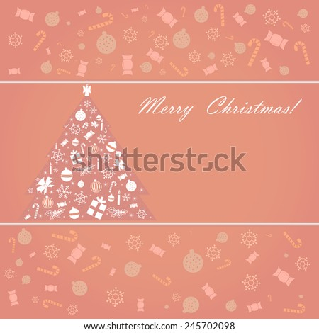 Abstract Christmas tree composed with of various Christmas trinkets. Vector illustration.
