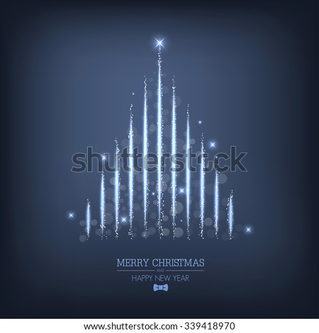 Abstract Christmas tree from light. Greeting card or invitation. Vector