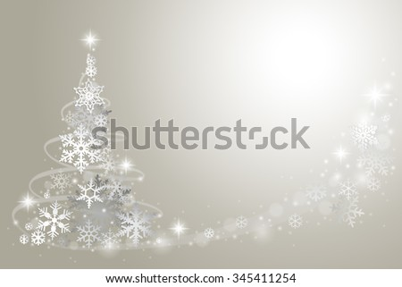 Abstract Christmas tree from snowflakes on grey background - stock vector