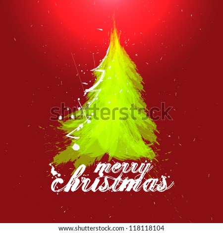 abstract christmas  tree greeting design in brush strokes - stock vector