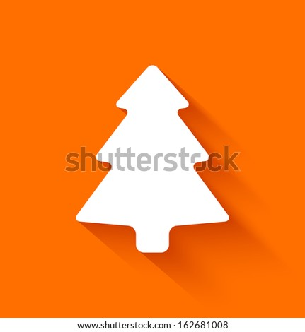 Abstract christmas tree in flat style on orange background. Vector illustration - stock vector