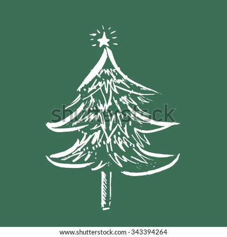 Abstract Christmas tree line art white on green background - stock vector