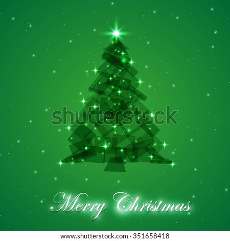 Abstract christmas tree made of green. Christmas tree greeting card background - stock vector