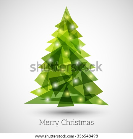 Abstract christmas tree made of green triangles. Christmas tree greeting card background - stock vector