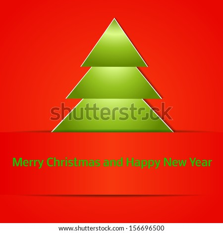 Abstract Christmas tree made of paper. Bright, juicy picture. Christmas and new year card. Vector illustration for your holiday design EPS10. 2014 is year.