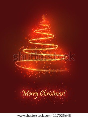 Abstract Christmas tree made of sparkles and lights. EPS10 vector greeting card. - stock vector