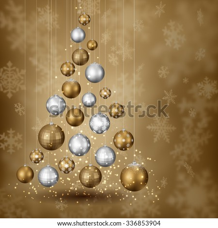 Abstract christmas tree of balls, on snowy background, EPS 10 contains transparency. - stock vector