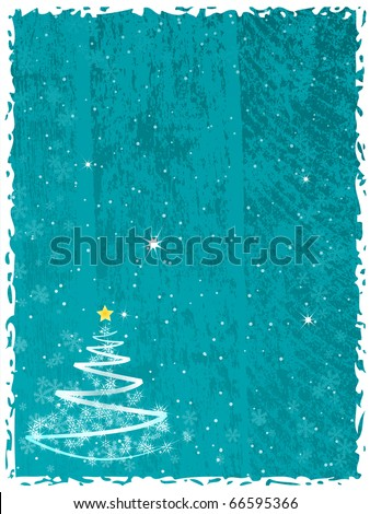 Abstract Christmas tree on the blue splotchy background - stock vector