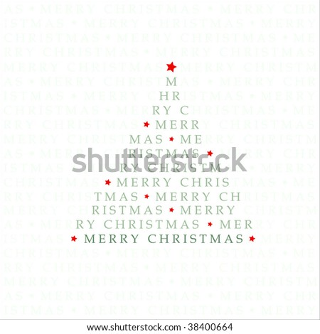 Abstract Christmas Tree Shaped Text Pattern Design