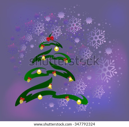 Abstract Christmas tree with golden cones, balls and bells on the background of snowflakes. EPS10 vector illustration. - stock vector