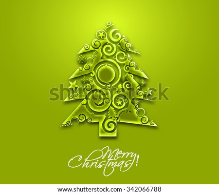 Abstract Christmas tree with green background , vector illustration for Xmas