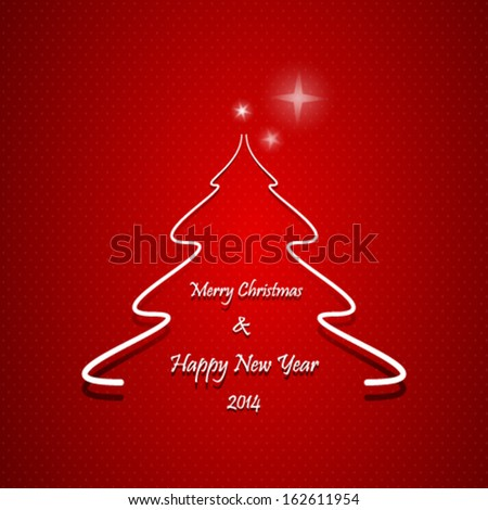 Abstract Christmas tree with Merry Christmas and Happy New Year text, on red background - stock vector