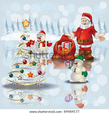 Abstract Christmas white greeting with snowmen and Santa Claus - stock vector