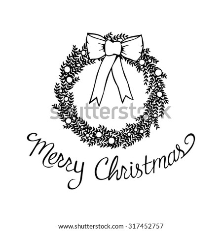 abstract Christmas wreath illustration vector, hand drawn branches and berries decoration, Christmas symbol clip art, modern fresh elegant style drawing, black and white for printing