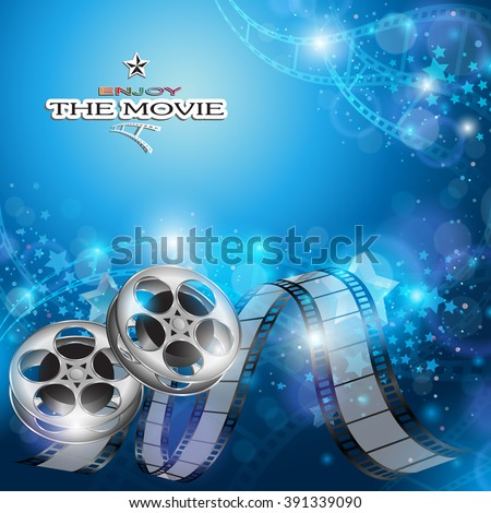 Abstract Cinema Background with Blurred Lights, Film Reel and Film Strip - stock vector