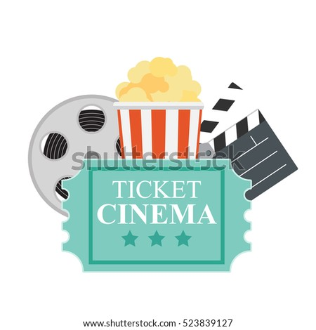 Abstract Cinema Flat Background with Reel, Old Style Ticket, Big Pop Corn and Clapper Symbol Icons. Vector Illustration EPS10