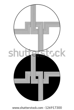 Abstract circle and straight line design in black and white - stock vector