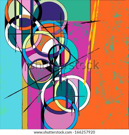 abstract circle background, with paint strokes and splashes, retro/vintage style  - stock vector