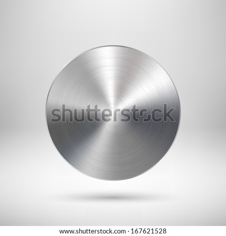 Abstract circle badge, blank button template with metal texture (chrome, silver, steel), realistic shadow and light background for web user interfaces, UI, applications and apps. Vector illustration. - stock vector