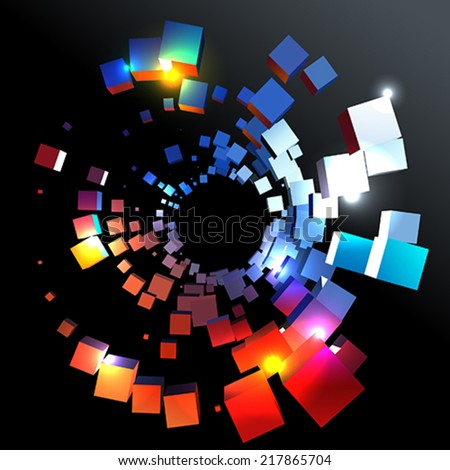 Abstract circle cubes - stock vector