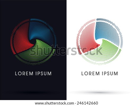 Abstract circle, designed using RGB color, red green blue  line, logo, symbol, icon, graphic, vector. - stock vector