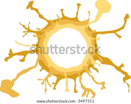 abstract circle illustrated design with flowing liquid radiating out from the centre