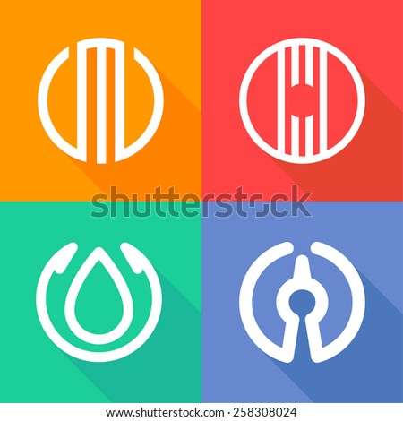 Abstract circle logo set, o leter logo, design template element - stock vector