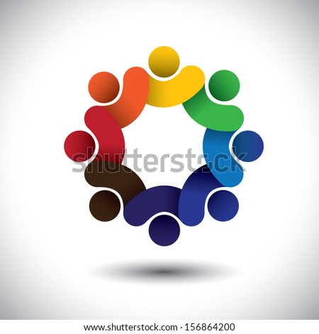 Abstract circle of people icons - diversity in employment concept. This vector graphic also represents concept of employees or workers meeting, workers unity, executive staff union, children & kids - stock vector