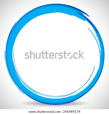 Abstract circle Water splash or Blue Grungy Circle Brush stroke  - stock vector