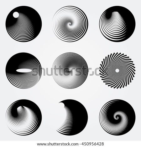 Abstract circles and spirals vector set. - stock vector