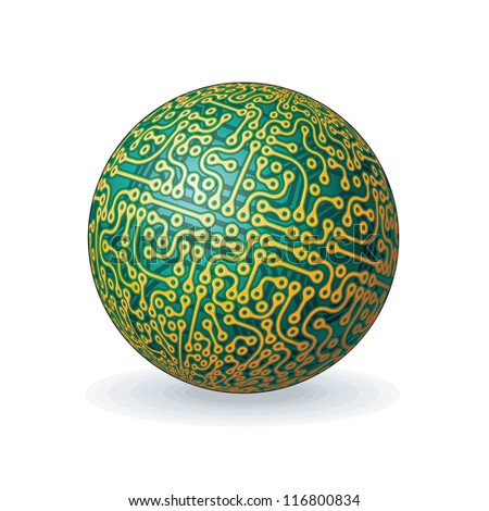 Abstract Circuit Board Planet. Vector Illustration isolated on white Background - stock vector