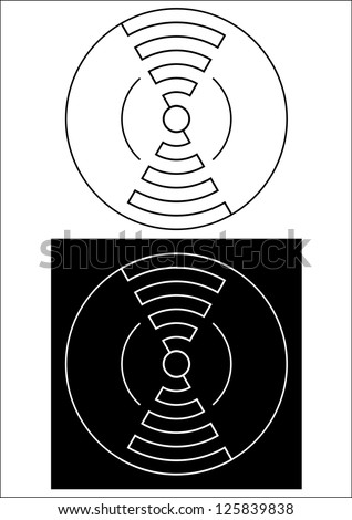 Abstract circular crop circle line design in black and white - stock vector