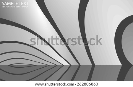 Abstract circular metal vector background illustration reflected - Metallic vector abstract reflected background template - stock vector