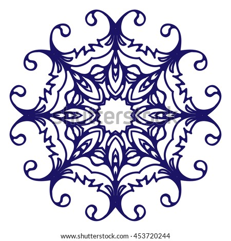 Abstract circular pattern or mandala in vector. Graphic template for your design. Decorative retro ornament - flower. Hand drawn background in floral, indian and islamic style.