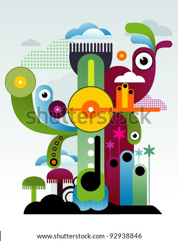 abstract city and characters vector