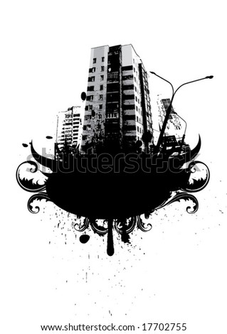 Abstract city background for text - stock vector